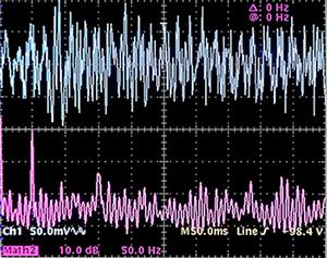 Traccia superiore: corrente di terra 0,5mA/div 50ms/div --- Traccia inferiore: spettro della corrente di terra 50Hz/div