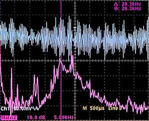 Traccia superiore: corrente di terra 0,5mA/div 0,5ms/div --- Traccia inferiore: spettro della corrente di terra 5kHz/div